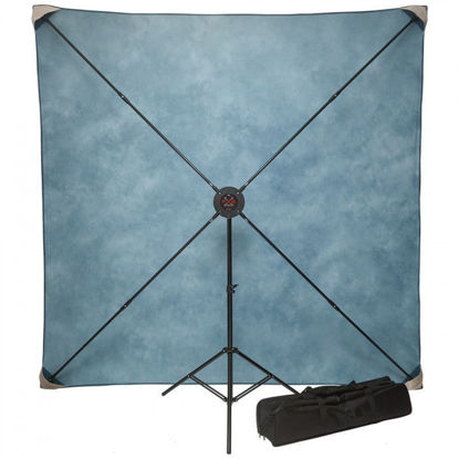 Picture of PXB 8' x 8' Pro Portable X-frame Background System with Light Grey Muslin